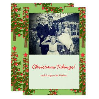 冬: ああ、クリスマスツリーパターン写真のノート カード