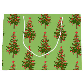 冬: ああ、緑のクリスマスツリーパターン ラージペーパーバッグ