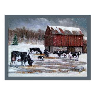 冬、元の絵画の牛 ポストカード