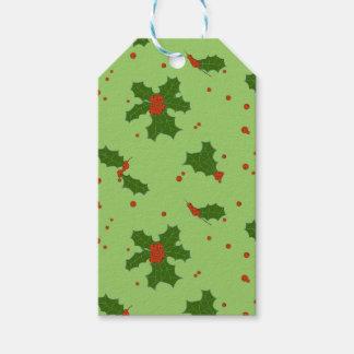 冬: 幸せなヒイラギの日パターン緑及び赤 ギフトタグ