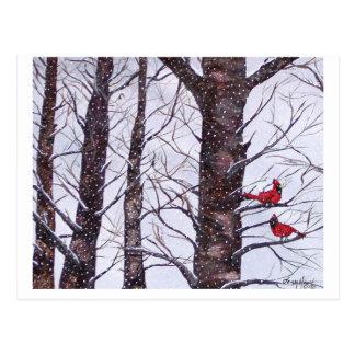 冬、版権2005年の2羽の赤い鳥 ポストカード