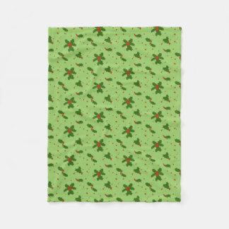 冬: 緑の幸せなヒイラギの日パターン フリースブランケット