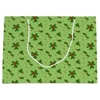 冬: 緑の幸せなヒイラギの日パターン ラージペーパーバッグ