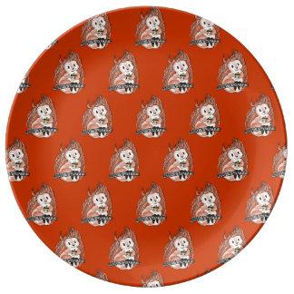 冬: 赤のリスの休日パターン 磁器プレート