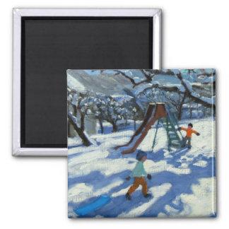 冬Bourg St Moritzのスライド マグネット