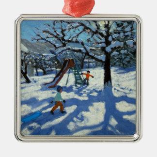冬Bourg St Moritzのスライド メタルオーナメント