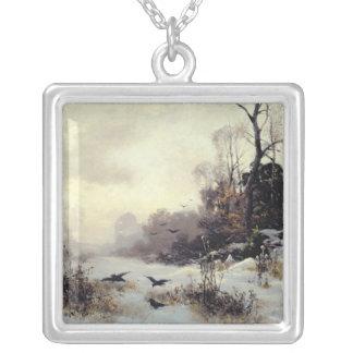 冬Landscape 1907年のカラス シルバープレートネックレス