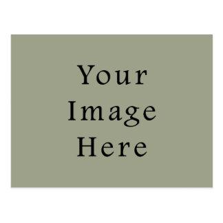 冷たいモスグリーン色の傾向のブランクのテンプレート ポストカード