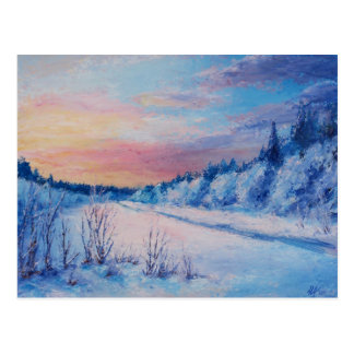 冷たい冬の日没 ポストカード