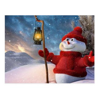 冷たい冬の雪だるま ポストカード