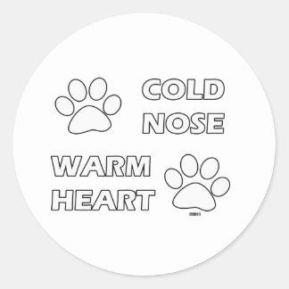 冷たい鼻の暖かいハート ラウンドシール