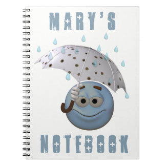 冷たく、雨の日の3dスタイルのスマイリー ノートブック