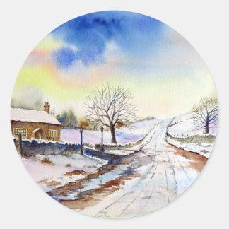 冷ややかな車線の水彩画の風景画 ラウンドシール
