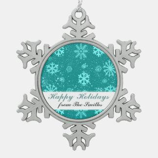 冷ややかな雪片のクリスマスの雪のカスタムの挨拶 スノーフレークピューターオーナメント