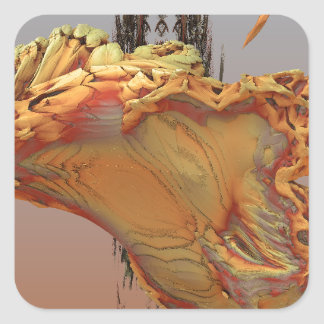 """""""冷光"""" 3Dのフラクタルの芸術、瑪瑙および黄銅 スクエアシール"""