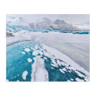 凍結する氷河氷、アイスランド アクリルウォールアート