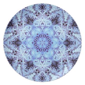 凍結する淡青色のメラミンプレート プレート