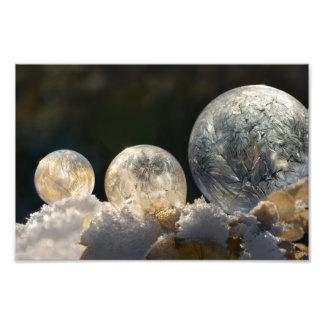 凍結する石鹸の泡の氷晶の冬Paperprint フォトプリント