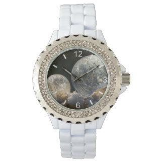 凍結する石鹸の泡の氷晶-女性の目盛板 腕時計