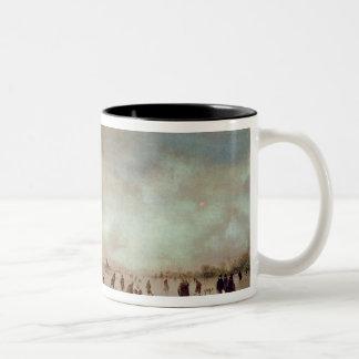 凍結する運河場面 ツートーンマグカップ