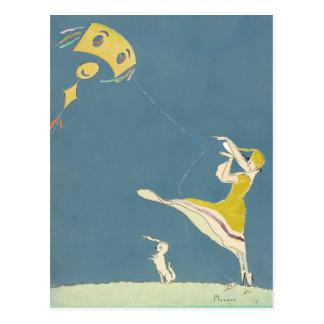 凧および犬を持つ女の子 ポストカード