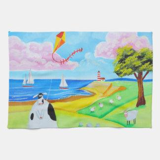 凧の民芸の絵画の牛 キッチンタオル