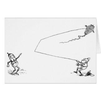 凧を扱うブラウニーおよび懸命 カード