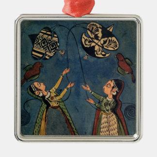 凧、Kuluの民俗絵画、Himachal Pを飛ばしている女の子 メタルオーナメント