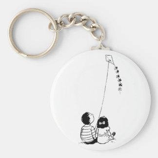 凧Keychainを飛ばしている子供 キーホルダー