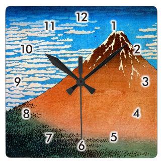 凱風快晴の(の赤富士の)、北斎赤い富士山、Hokusai、Ukiyo-e スクエア壁時計