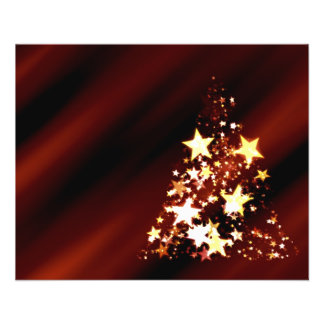出現の星のクリスマスのクリスマスツリーのポインセチア チラシ
