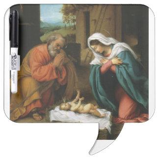出生のキリストのベビーのイエス・キリストのキリスト教の聖なる書物、経典 ホワイトボード