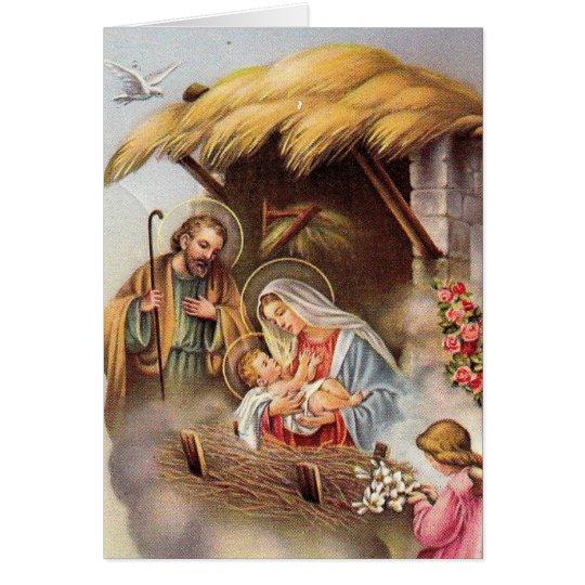 出生のセントジョーゼフ聖母マリアのベビーのイエス・キリストの天使 グリーティングカード