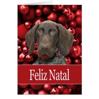 出生光沢のあるハイイログマのクリスマスFeliz カード