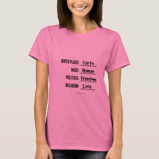 出生地の地球のワイシャツ(ピンクのティー) Tシャツ