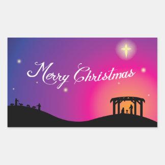 出生場面クリスマスのステッカー 長方形シール