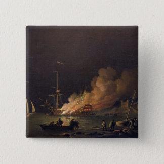 出荷して下さい夜、c.1756 (キャンバスの油)にで火 5.1cm 正方形バッジ