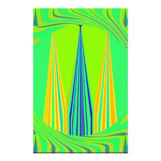 刃の鋭く幾何学的なネオンデザイン 便箋
