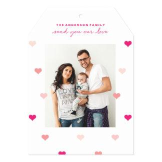 分散させたハートのバレンタインデーの写真カード カード
