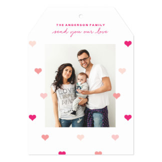 分散させたハートのバレンタインデーの写真カード 12.7 X 17.8 インビテーションカード