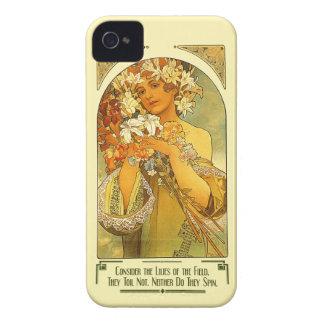 分野のアルフォンス島のミュシャのユリを考慮して下さい Case-Mate iPhone 4 ケース