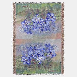 分野のファインアートの絵画の青い野生の花 毛布