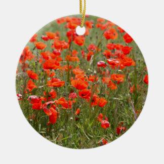分野の共通のケシの花 セラミックオーナメント