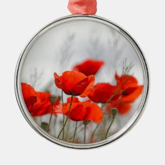 分野の共通のケシの花 メタルオーナメント