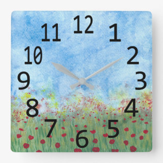 分野の水彩画の絵画の時計の赤いケシ スクエア壁時計