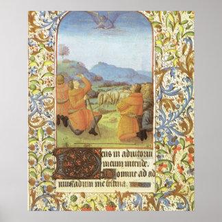 分野の羊飼いは中世ベスレヘムに近づきます ポスター