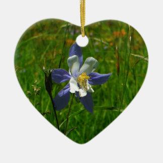 分野の青オダマキ(植物) セラミックオーナメント