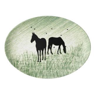 分野の馬 磁器大皿