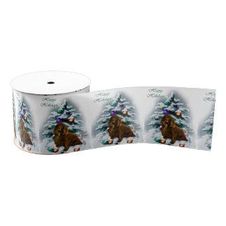 分野スパニエル犬のクリスマス グログランリボン
