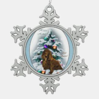 分野スパニエル犬のクリスマス スノーフレークピューターオーナメント